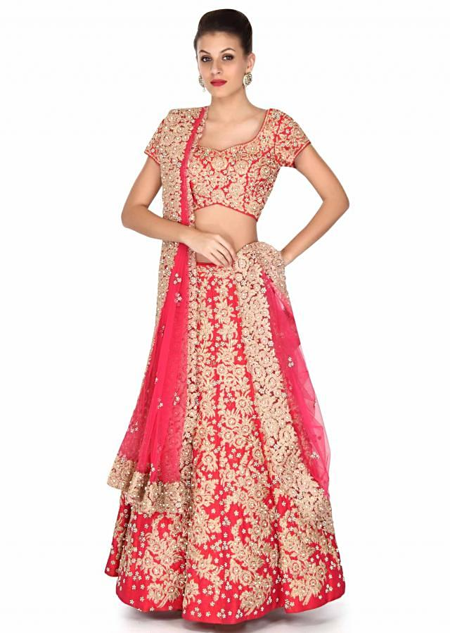 Pink lehenga adorn in zari and pearl embroidery only on Kalki