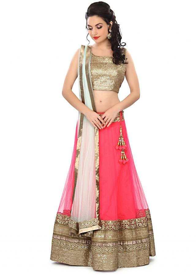 Pink lehenga embellished in cut work border only on Kalki