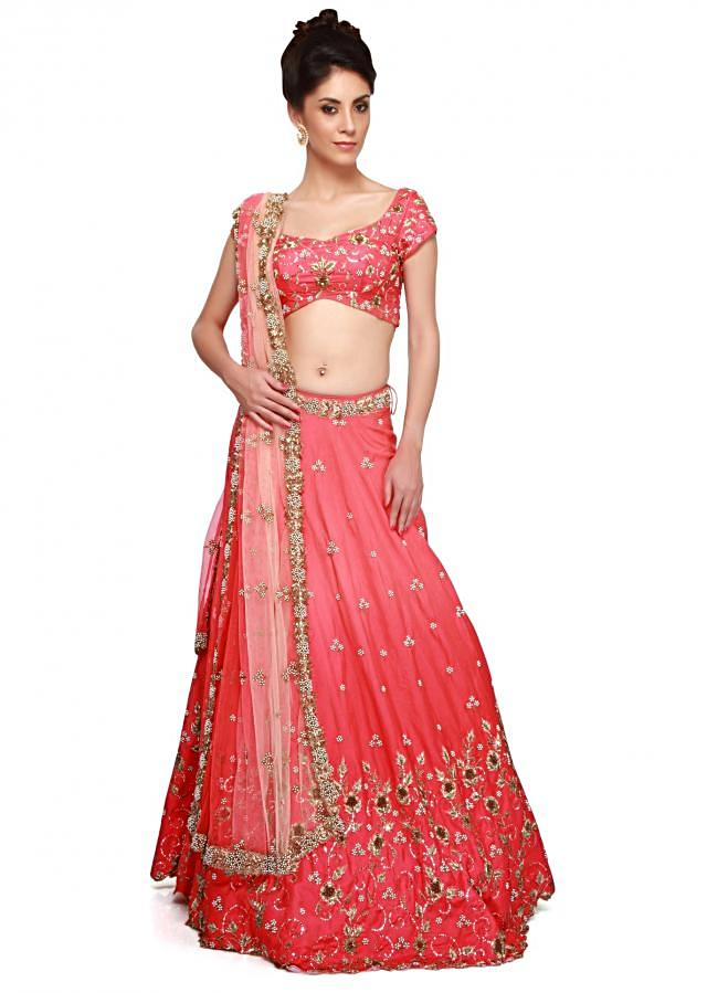 Pink lehenga embellished in mirror embroidery only on Kalki