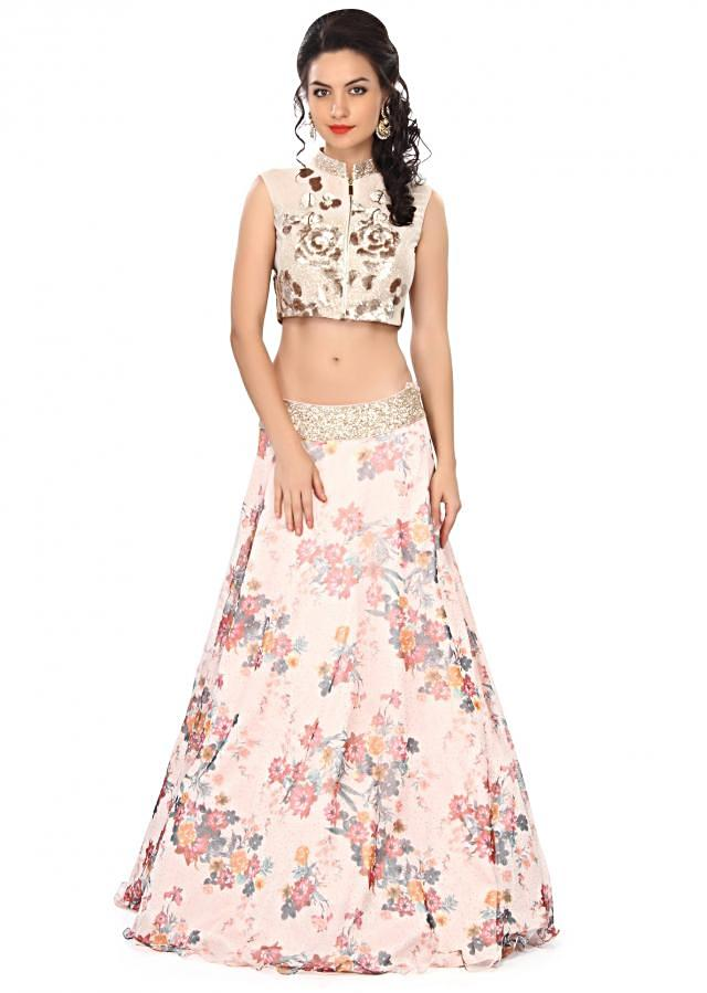 Pink lehenga embellished in sequin and floral print only on Kalki