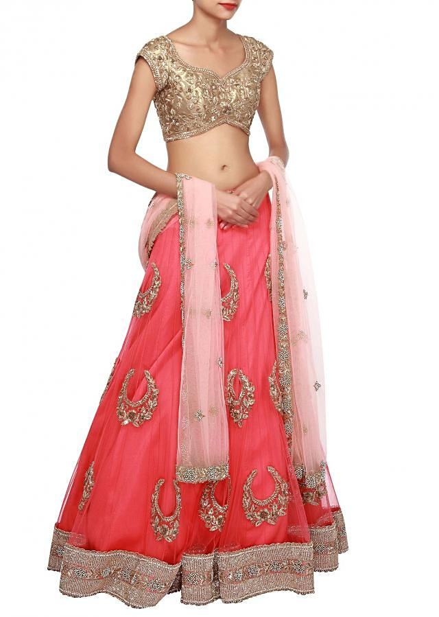 Pink lehenga enhanced in moti embroidery only on Kalki