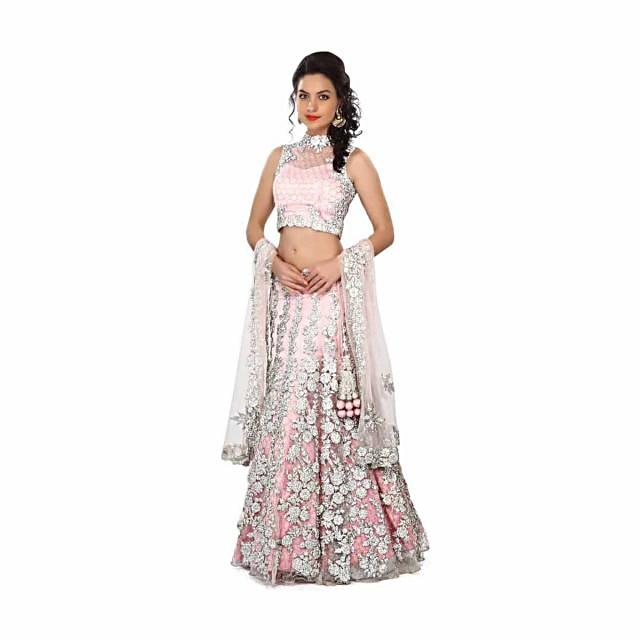 Pink lehenga enhanced in stone and kundan embroidery only on Kalki