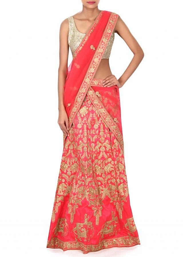 Pink lehenga in elephant motif embroidery only on Kalki