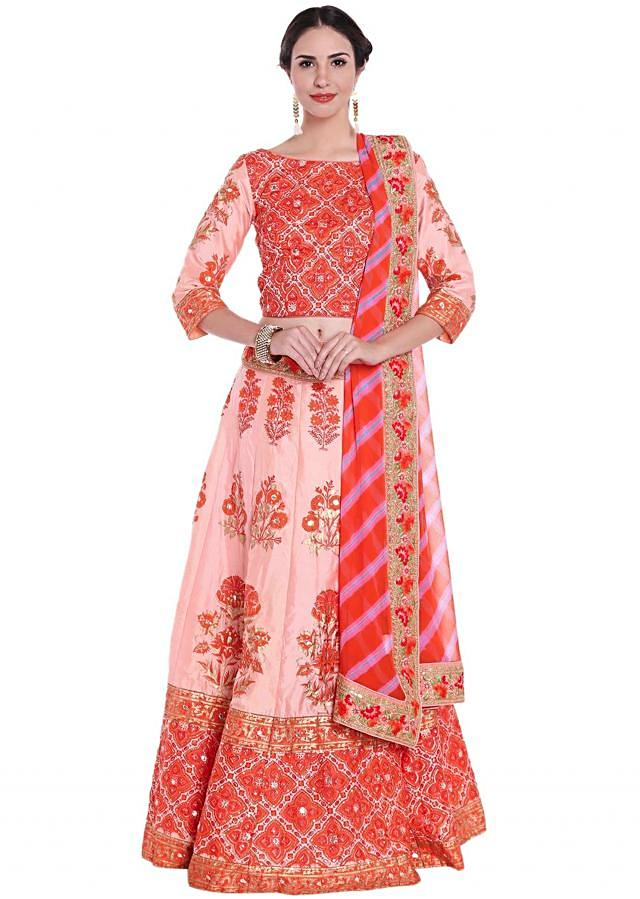 Pink lehenga in floral print highlighted in sequin and gotta only on Kalki