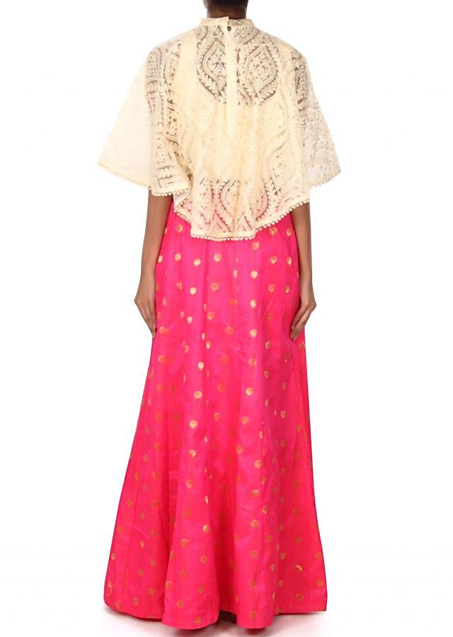 Pink lehenga matched with cream embroidered cape only on Kalki
