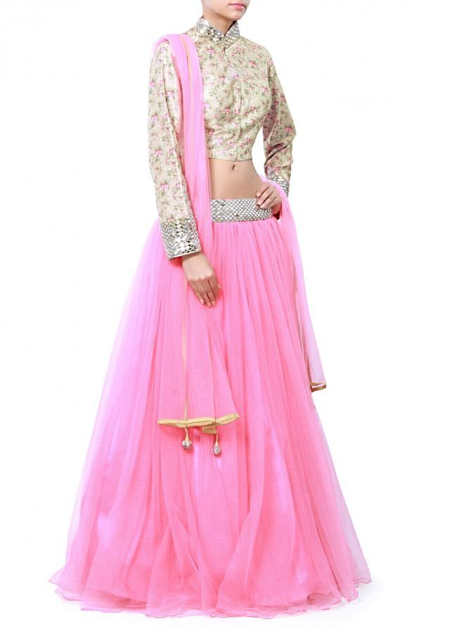 Pink lehenga with floral and mirror embroidered blouse only on Kalki