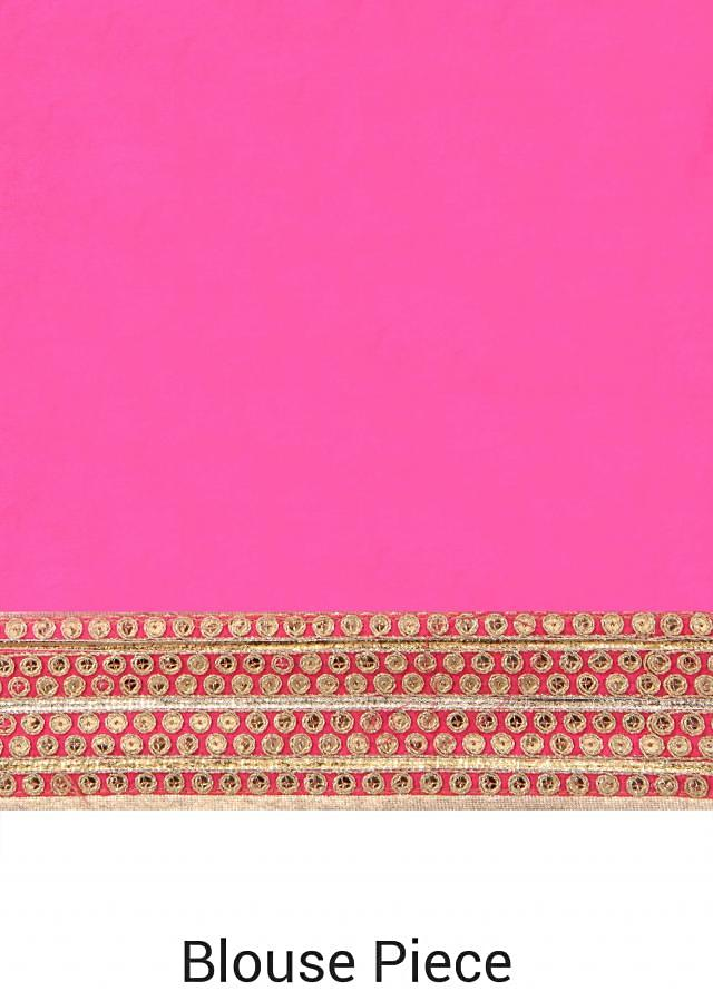 Pink leheriya saree adorn in embroidered border only on Kalki