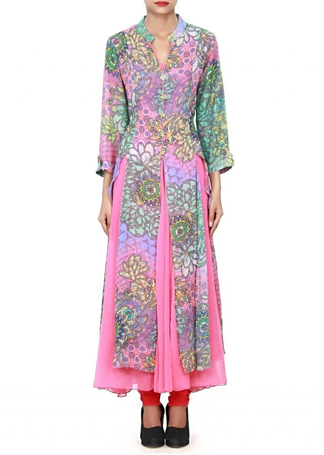 Pink long printed kurti with fancy buttons only on Kalki