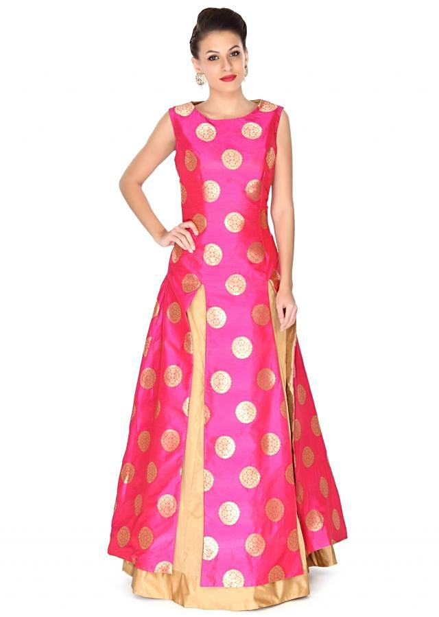 Pink long top matched with beige lehenga only on Kalki