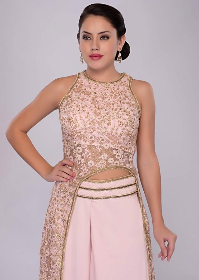 Pink net embroidered fancy top with flared palazzo  only on kalki