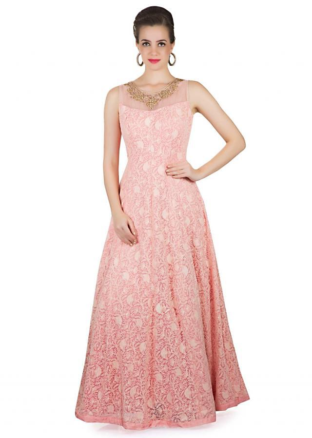 Pink Net Top, Dupatta and Lycra Churidar Ensemble Styled with Thread Work and Kundan only on Kalki