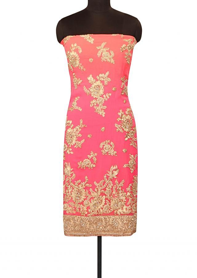 Pink omber unstitched suit in pearl and zari embroidery only on Kalki