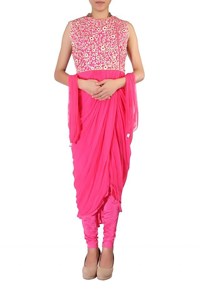 Pink outfit adorn in thread embroidery along with cowl drape only on Kalki