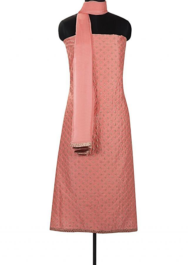 Pink peach semi stitched suit in jaal embroidery only on Kalki