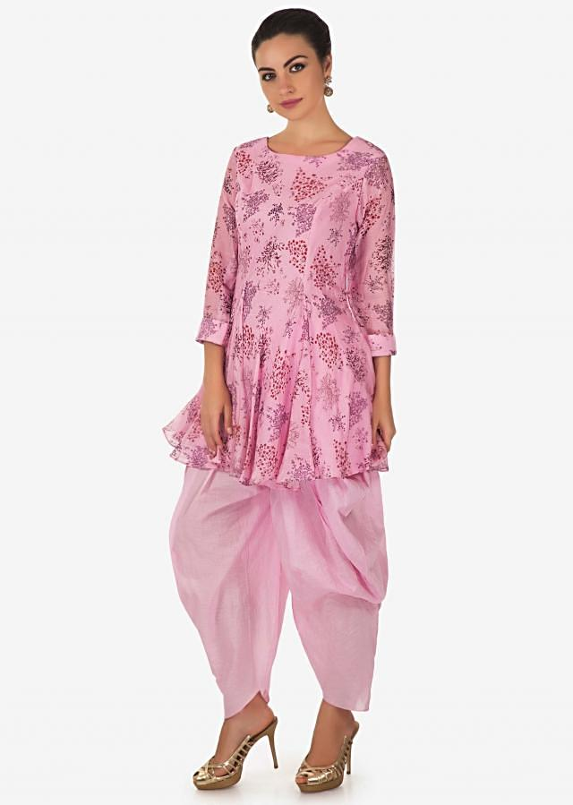 Pink princes line suit in floral printed butti matched with cowl pants only on Kalki
