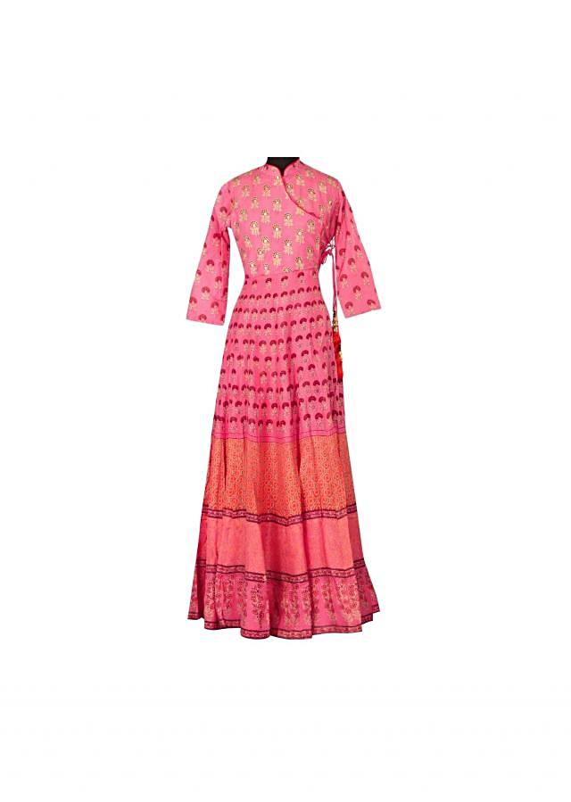 Pink printed kurti highlighted in zari only on Kali