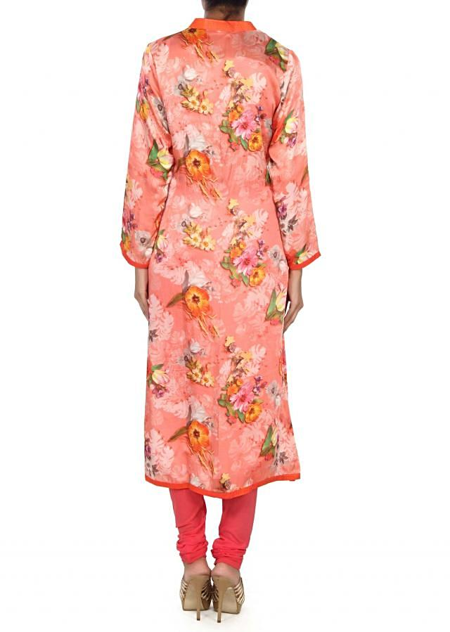 Pink printed kurti with gotta patch work placket only on Kalki