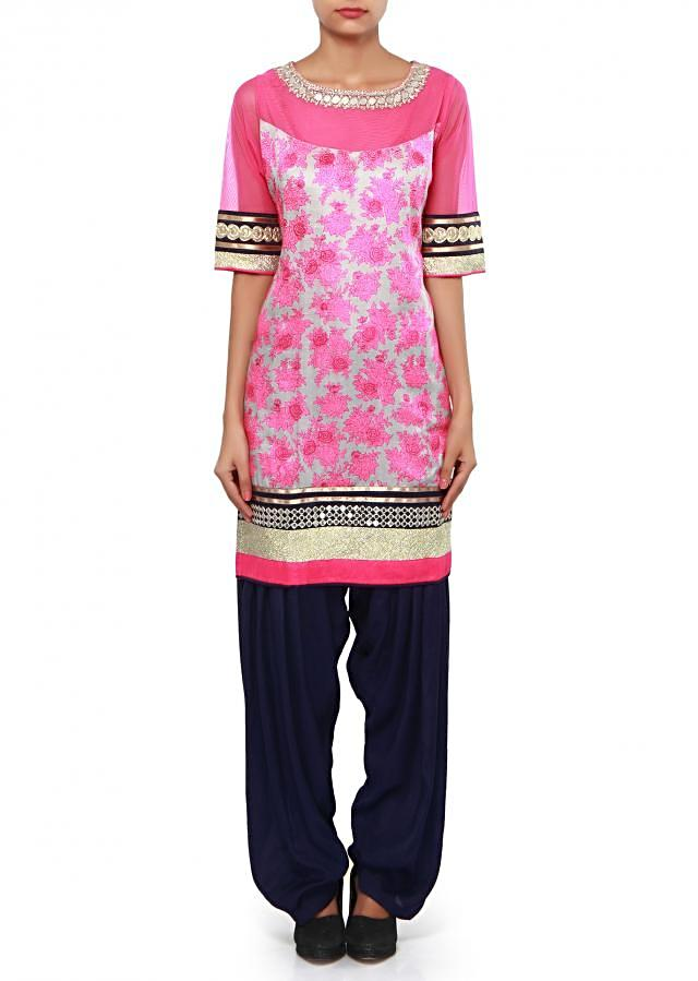 Pink printed suit adorn in mirror embroidery only on Kalki