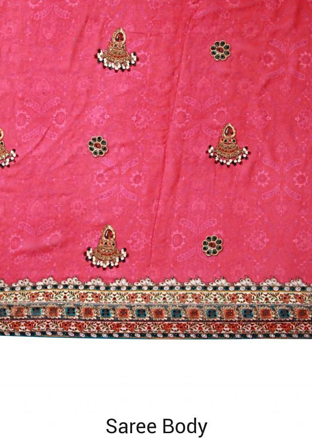Pink saree adorn in digital print and kundan only on Kalki
