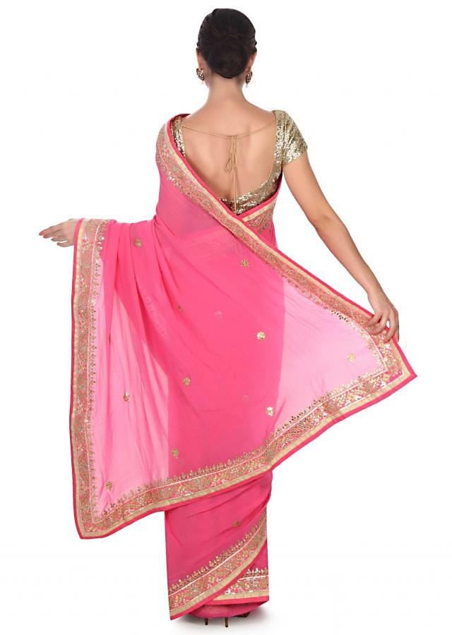 Pink saree adorn in gotta patch border only on Kalki