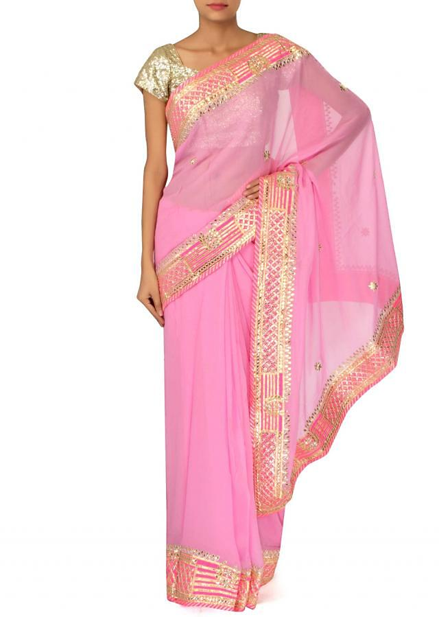 Pink saree adorn in gotta patch embroidery only on Kalki