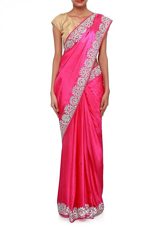 Pink saree adorn in kundan embroidery only on Kalki