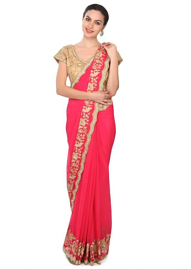 Pink saree adorn in thread and sequin embroidery only on Kalki