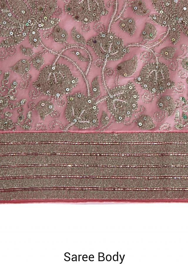 Pink saree adorn in zari and sequin embroidery only on Kalki