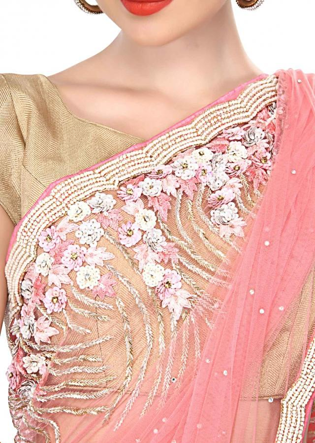 Pink saree embellished in pearl and sequin embroidery only on Kalki