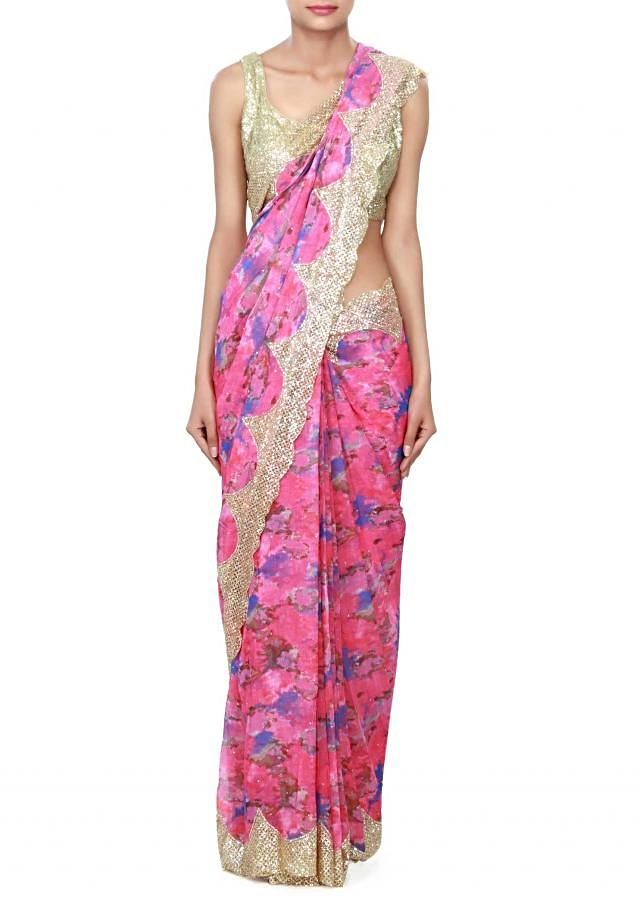 Pink saree embellished in sequin and print only on Kalki