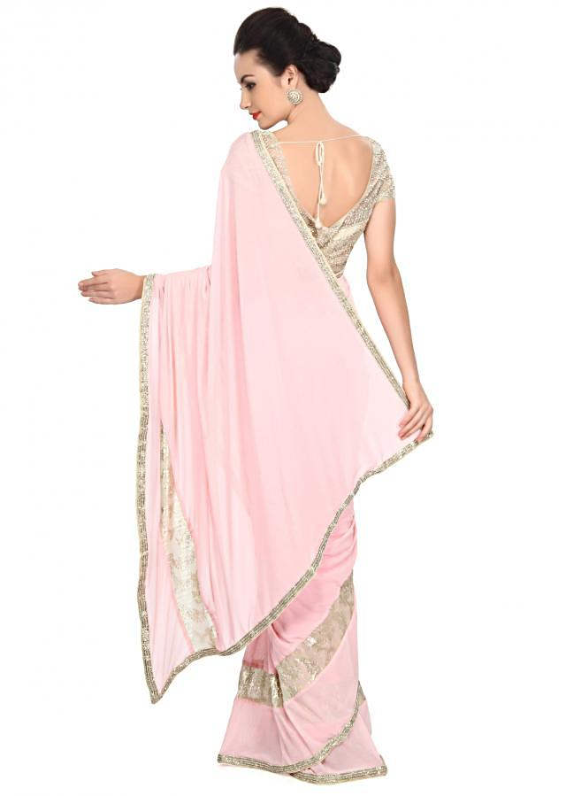 Pink saree embellished in sequin embroidery only on Kalki