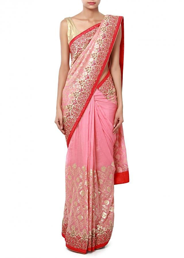 Pink saree embellished in thread and sequin only on Kalki