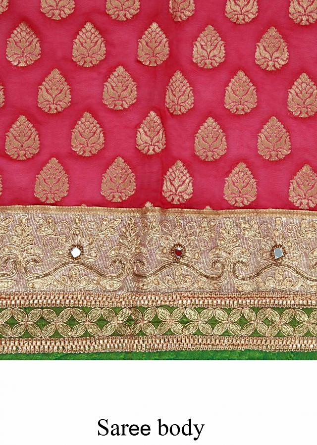 Pink saree embellished in zari weave embroidery only on Kalki