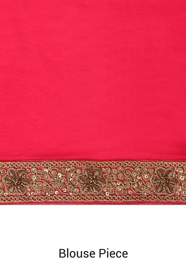 Pink saree enahcned in weave and zardosi border only on Kalki