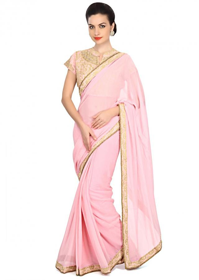 Pink saree featuring in embellished border only on Kalki