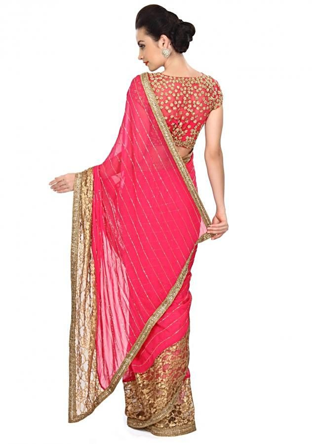 Pink saree featuring in gold lace border only on Kalki