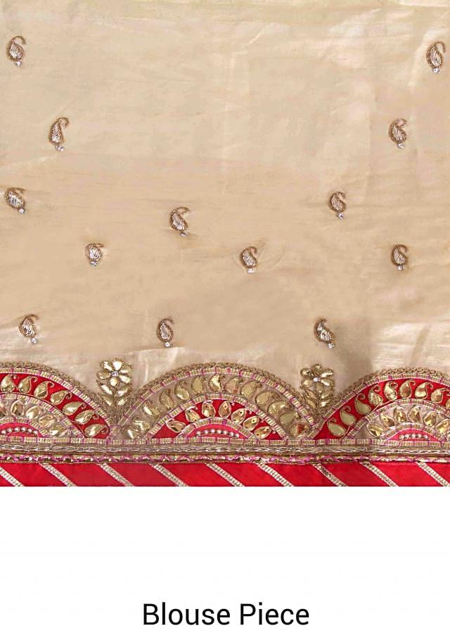Powder pink saree featuring in gotta patch embroidered border only on Kalki