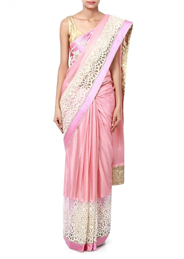 Pink saree featuring in sequin and thread embroidery only on Kalki