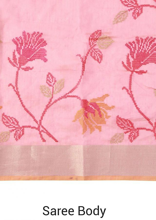 Pink saree featuring with lotus motif embroidery only on Kalki