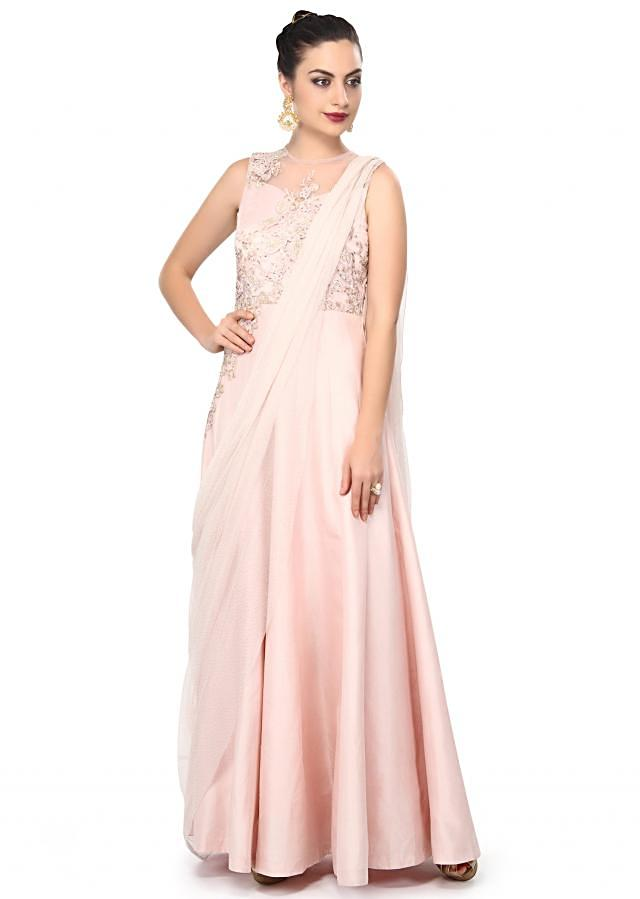 Pink saree gown enhanced in cord and resham embroidery only on Kalki
