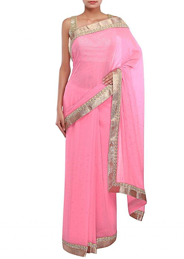 Pink saree highlighted in lurex border only on Kalki