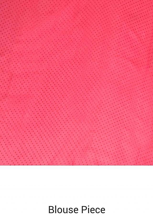 Pink saree in floral and checks print only on Kalki