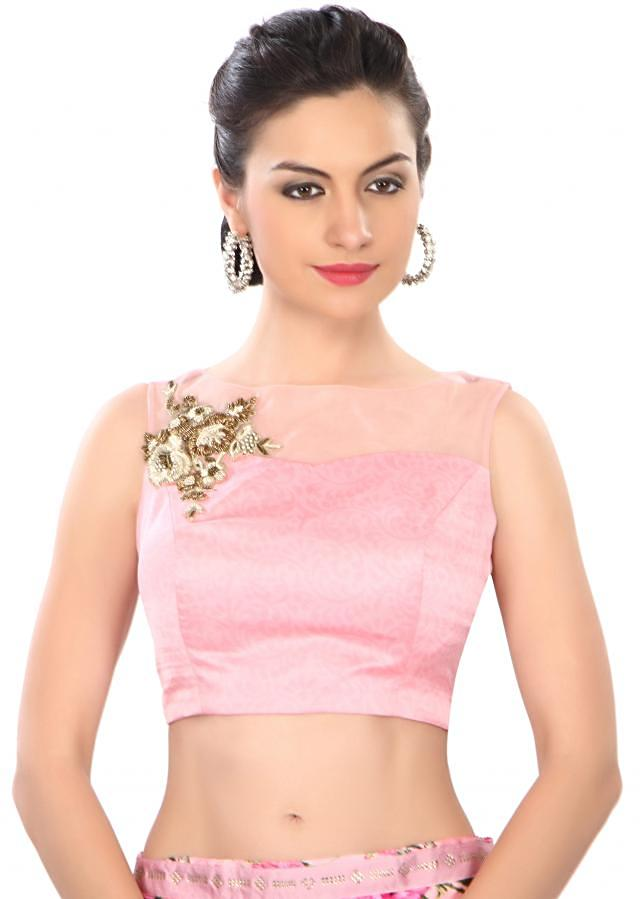Pink saree in floral print with embroidered border only on Kalki