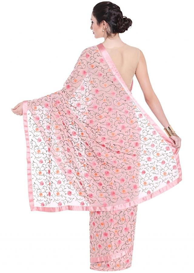 Pink saree in georgette with resham jaal motif embroidery only on Kalki