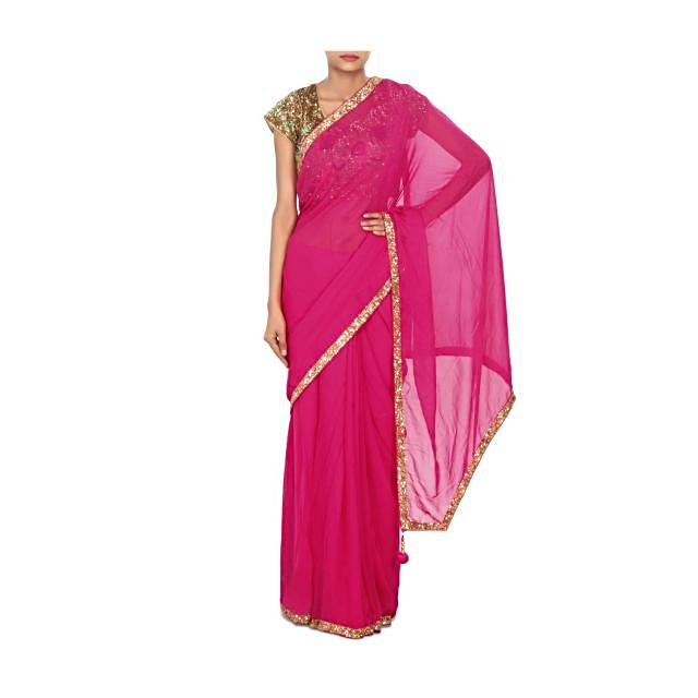 Pink saree matched with embroidered blouse in sequin only on Kalki
