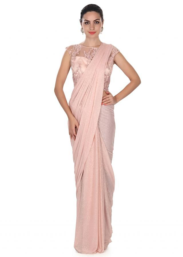 Pink saree matched with resham embroidered blouse only on Kalki