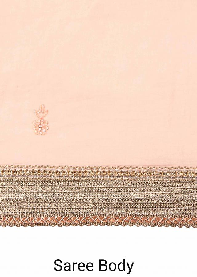 Pink saree with thread embroidered pallav only on Kalki