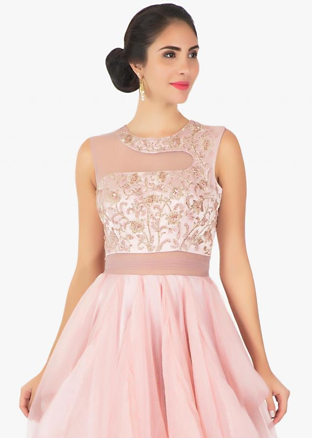 Pink satin and art organza net  gown with sheer yoke only on Kalki