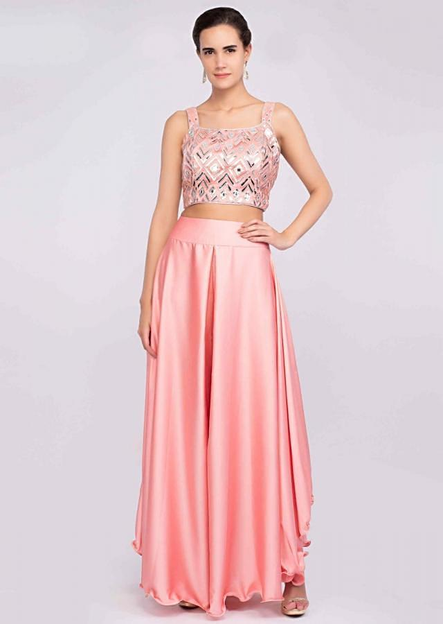 Pink Palazzo In Satin With Matching Lurex Crop Top And Ruffled Dupatta Online - Kalki Fashion