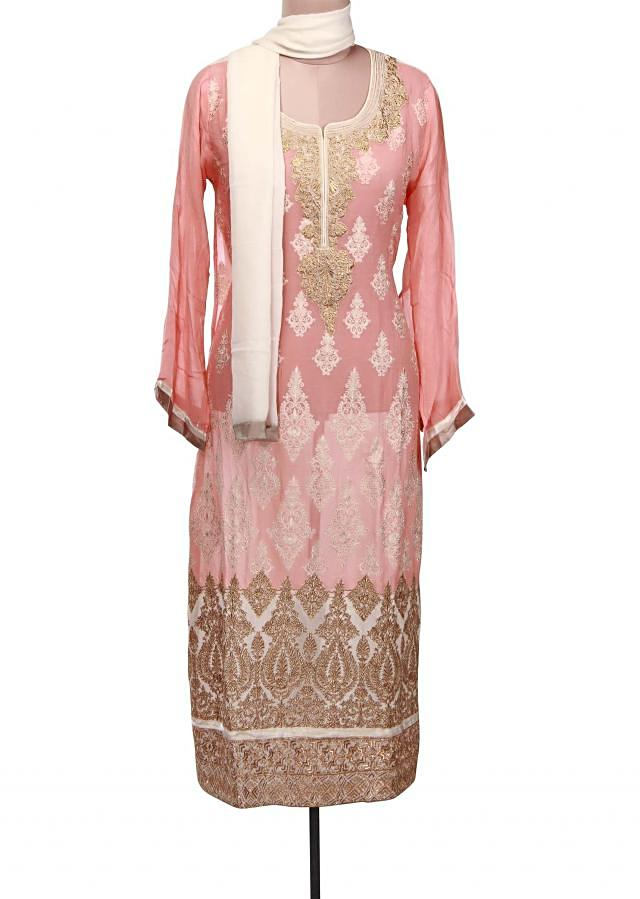 Pink semi stitched suit adorn in resham and zari embroidery only on Kalki